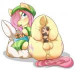 2014 anatomically_correct anatomically_correct_penis animal_genitalia anus balls blush butt cookie crossgender cutie_mark equine erection feral fluttershy_(mlp) food friendship_is_magic front_view fur hair hat hooves horse horsecock legs_up looking_at_viewer lying male mammal my_little_pony on_back penis pink_hair plain_background pony precum puffy_anus rainbowscreen solo white_background yellow_fur   Rating: Explicit  Score: 77  User: lemongrab  Date: November 07, 2014