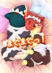 2018 bed bed_sheet bedding blush butt clothed clothing comic female female_focus feral group japanese_text legwear looking_at_viewer lying maid_uniform mammal manga nintendo on_back on_bed pillow pokémon pokémon_(species) quilava rear_view red_eyes stockings text tissue translated underwear uniform vcrow_shuu video_gamesRating: ExplicitScore: 3User: LukarioXXLDate: June 21, 2018