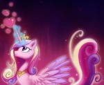 2012 <3 abstract_background crown equine feathered_wings feathers female feral friendship_is_magic glowing hair horn jewelry magic mammal multicolored_hair my_little_pony necklace pink_feathers princess_cadance_(mlp) saphamia simple_background solo winged_unicorn wings