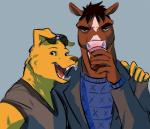 alcohol anthro beverage bojack_horseman bojack_horseman_(character) canine clothing dog duo equine eyewear food horse labrador male mammal mr._peanutbutter selfie smile sunglasses unknown_artist  Rating: Safe Score: 12 User: Every1DrinkBeer Date: July 31, 2015