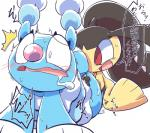 2017 blush brionne duo female japanese_text mawile nettsuu nintendo open_mouth pokémon pokémon_(species) red_eyes saliva simple_background sweat text tongue translation_request video_games white_background