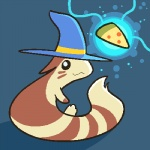 2012 :3 aliasing ambiguous_gender cute food furret hat hidden_mudkip looking_back low_res nintendo pizza pokémon solo video_games wizard_hat