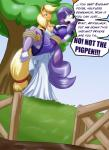 2015 anthro anthrofied applejack_(mlp) bdsm blonde_hair blue_eyes bondage bound breasts cleavage clothed clothing dress duo equine female fence friendship_is_magic gate green_eyes hair horn horse legwear mammal mud my_little_pony pony purple_hair rarity_(mlp) rope rope_bondage stockings toughset tree unicorn   Rating: Safe  Score: 2  User: 2DUK  Date: April 24, 2015