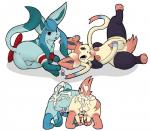 all_fours anus backsack balls between_legs butt cum cum_in_ass cum_inside cum_on_butt digital_media_(artwork) duo eeveelution feral glaceon legwear looking_at_viewer looking_back lying male male/male messy multiple_images multiple_poses nintendo on_back on_side one_leg_up penis perineum plain_background pokémon presenting presenting_hindquarters quadruped redras_shoru sheath signature sylveon tapering_penis video_games white_background   Rating: Explicit  Score: 20  User: Circeus  Date: May 14, 2015