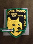 2016 ambiguous_gender badge black_nose canine cloth crossover dagger dog doge english_text feral fur grey_background humor joke konami looking_at_viewer mammal melee_weapon meme metal_gear mouth_hold real shiba_inu simple_background solo special_forces text unknown_artist video_games weapon yellow_fur