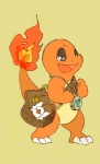 ambiguous_gender bag charmander fire flaming_tail happy jewelry lazy95 necklace nintendo open_mouth orange_skin pokémon sharp_teeth simple_background solo teeth video_games