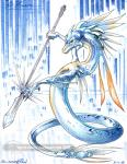 2008 abstract_background agentelrond ambiguous_gender anthro black_sclera blue_eyes blue_markings blue_scales claws dragon ice markings melee_weapon multicolored_scales orange_scales polearm reptile scalie simple_background snake spear spikes spines sword traditional_media_(artwork) two_tone_scales visimar watermark weapon  Rating: Safe Score: 6 User: IcyDragonVisy Date: July 20, 2015