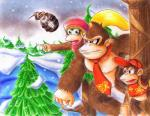 akira_hikari ape blonde_hair brown_fur cranky_kong diddy_kong dixie_kong donkey_kong donkey_kong_(series) female fur group hair male mammal monkey nintendo primate snow video_games   Rating: Safe  Score: 1  User: Cαnε751  Date: April 10, 2015