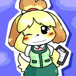 animal_crossing anthro black_nose blush canine clothing dog dress female hair hair_ornament isabelle_(animal_crossing) mammal nintendo one_eye_closed short_hair solo uniform unknown_artist video_games wink  Rating: Safe Score: 1 User: Cαnε751 Date: November 09, 2015