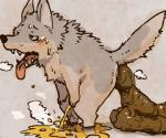 anthro blush canine crouching feces fur grey_fur hyper hyper_feces male mammal panting peeing sansh scat simple_background solo standing steam sweat urine wolf  Rating: Explicit Score: -6 User: Wyvrn Date: January 07, 2014