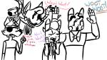 2016 2_heads animatronic anthro bonnie_(fnaf) bow_tie buckteeth canine dialogue english_text exposed_endoskeleton eye_patch eyewear female five_nights_at_freddy's five_nights_at_freddy's_2 fox foxy_(fnaf) group inkyfrog lagomorph machine male mammal mangle_(fnaf) multi_head open_mouth open_smile rabbit restricted_palette robot simple_background smile teeth text toy_bonnie_(fnaf) video_games white_background yelling