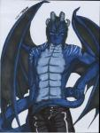 anthro black_hair blue_scales clothed clothing dragon faust hair half-dressed horn invalid_tag koshkio looking_at_viewer male scales scalie solo standing topless wings   Rating: Safe  Score: 1  User: koshkio  Date: May 29, 2015