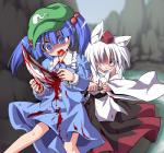 animal_humanoid blood blue_eyes blue_hair canine clothing detached_sleeves duo female gore hair hair_bobbles hair_ornament hat human humanoid impalement kappa karu0000 mammal momiji_inubashiri nitori_kawashiro open_mouth pigtails red_eyes short_hair skirt stab tengu tokin_hat touhou weapon white_hair wolf wolf_humanoid  Rating: Questionable Score: 6 User: Hibachi Date: February 12, 2014