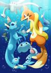 ambiguous_gender black_eyes blue_eyes bubble eeveelution feral floatzel group haripo_(artist) hi_res horsea lanturn lapras legendary_pokémon lugia mantyke nintendo open_mouth pokémon purple_eyes red_eyes skrelp swimming tongue underwater vaporeon video_games water wooper