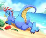 2019 anthro anus beach breasts butt clitoris female food fruit green_sclera hi_res lonbluewolf looking_at_viewer looking_back melon plant pussy reptile scalie seaside solo watermelon yellow_eyesRating: ExplicitScore: 25User: cinnamon365Date: August 17, 2019