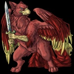 2010 alpha_channel avian beak feathers feral green_eyes gryphon keshikins looking_at_viewer male melee_weapon nude red_feathers red_theme simple_background solo standing sword transparent_background weapon wings  Rating: Safe Score: 12 User: 31h253 Date: August 22, 2012