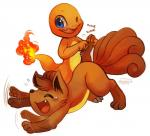 2014 blue_eyes brown_fur charmander cute feral fire fur happy haychel laugh nintendo open_mouth pokémon tails tears tickling tooth video_games vulpix   Rating: Safe  Score: 14  User: Toothless-chan  Date: March 09, 2014