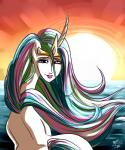 2015 crown equine female friendship_is_magic hair horn looking_at_viewer looking_back mammal multicolored_hair my_little_pony outside ponut_joe princess_celestia_(mlp) sea solo sunset unicorn water what  Rating: Safe Score: 0 User: Egekilde Date: September 27, 2015