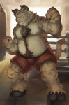 2015 anthro belly biceps bovine boxer boxing bulge cattle chest_tuft chubby cinna-tree clothed clothing feline fighting_ring fluff fur hair half-dressed hooves horn hybrid looking_at_viewer male mammal nipple_piercing nipples piercing pose shorts small_ears smile solo sports stripes tiger topless tuft   Rating: Safe  Score: 7  User: Balaunde  Date: February 18, 2015