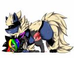 2016 2017 all_fours alternate_color animal_genitalia arcanine arcario blush canine clinched_teeth cum cum_inside digital_media_(artwork) doggystyle duo eevee erection fakémon fan_character female feral fluffy fluffy_tail from_behind_position fur hair hi_res hybrid internal lucario male male/female mammal nintendo on_top open_mouth orgasm penetration penis pokémon raven_eevee raveneevee sex simple_background smile ssweat stripes video_games