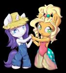 2014 alasou alpha_channel alternate_hairstyle anthro anthrofied applejack_(mlp) blonde_hair blue_eyes chibi clothing cute digital_media_(artwork) dress duo earth_pony equine female friendship_is_magic fur green_eyes hair hat horn horse looking_at_viewer mammal my_little_pony orange_fur overalls pony purple_hair rarity_(mlp) simple_background smile straw_hat transparent_background unicorn white_fur  Rating: Safe Score: 13 User: ultragamer89 Date: May 23, 2014
