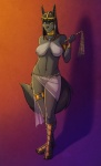 2015 anthro anubian_jackal armlet belly_chain big_breasts big_ears black_fur black_hair black_nose bracelet breasts canine clothed clothing ear_piercing egyptian female fluffy_tail fur green_eyes hair headdress jackal jewelry kadath long_ears long_hair looking_at_viewer mammal navel navel_piercing necklace nightshade_(kadath) nipples piercing pussy sandals smile solo translucent transparent_clothing   Rating: Explicit  Score: 24  User: Numeroth  Date: March 26, 2015
