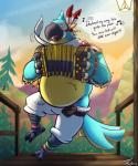 2017 accordion anthro avian beak belly biped bird breath_of_the_wild claws clothed clothing detailed_background dialogue digestion digital_media_(artwork) english_text kass_(zelda) male musical_instrument nintendo onomatopoeia open_mouth outside rito smile solo sound_effects tanio text the_legend_of_zelda video_games vore yellow_eyesRating: QuestionableScore: 1User: FennekinkyDate: June 28, 2017
