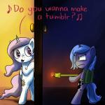 2014 anticularpony blue_eyes blue_fur blue_hair cutie_mark dialogue door duo english_text equine female flamethrower friendship_is_magic frozen_(movie) fur hair holding holding_weapon horn mammal my_little_pony open_mouth pink_eyes pink_hair princess_celestia_(mlp) princess_luna_(mlp) ranged_weapon singing text weapon white_fur winged_unicorn wings  Rating: Safe Score: 24 User: Wodahseht Date: July 21, 2014