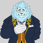 2018 5_fingers anthro biped blue_clothing blue_topwear cheek_tuft clothed clothing digital_drawing_(artwork) digital_media_(artwork) elegant eyebrows eyewear facial_tuft felid fingers front_view fur green_eyes grey_background half-closed_eyes half-length_portrait hand_on_chest head_tuft humanoid_hands lion looking_at_viewer male mammal mane monocle muscular muscular_anthro muscular_male narrowed_eyes neck_tuft necktie oaks16 pantherine pecs portrait simple_background snow_(tas) solo standing tokyo_afterschool_summoners topwear tuft uniform video_games whiskers white_body white_fur white_mane
