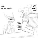 1:1 activision angry anthro beastars canid canine canis clothing counter dialogue dragon english_text female furgonomics hat headgear headwear hi_res hladilnik horn juno_(beastars) male mammal monochrome sharp_teeth simple_background size_difference spyro spyro_the_dragon subway_(restaurant) teeth text video_games white_background wolf