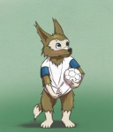 anthro blue_eyes blush bottomless canine clothed clothing mammal mascot one_fine_deer simple_background solo wolf zabivakaRating: QuestionableScore: 0User: one-fine-deerDate: March 23, 2017