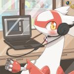 blush computer computer_mouse cute dragon ecru_(artist) feathers female feral headphones headset heatran latias latios legendary_pokémon looking_at_viewer nintendo pocky pokéball pokémon pokémon_(species) red_feathers scizor solo video_games white_feathers yellow_eyes