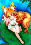 animal_humanoid armpits bare_legs barefoot blonde_hair canine clothing ear_piercing female fox fox_humanoid fox_tail hair hi_res humanoid japanese_clothing kimono long_hair looking_at_viewer looking_up mammal noa_(nagareboshi) orange_hair outstretched_hand piercing red_eyes short_hair sitting solo water