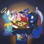 2015 armor blue_hair book card cloak clothing dice dungeons_&_dragons equine female feral friendship_is_magic group hair hat helmet hollulu horn horse long_hair male mammal melee_weapon multicolored_hair my_little_pony pony princess_cadance_(mlp) princess_luna_(mlp) scythe shining_armor_(mlp) shirt twilight_sparkle_(mlp) unicorn weapon winged_unicorn wings  Rating: Safe Score: 12 User: Somepony Date: August 16, 2015