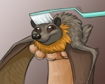 ambiguous_gender black_eyes brush brushie_brushie_brushie brushing brushing_fur chiropteran derp_eyes disembodied_hand duo durr feral fur mammal membrane_(anatomy) membranous_wings meme personal_grooming pteropodid smile snout social_grooming solo_focus toothbrush unknown_artist wings