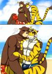 <3 abs anthro beach bear bearlovestiger13 biceps blush brown_fur brown_stripes chest_tuft clothing duo eyewear feline fur goggles hi_res juuichi_mikazuki licking male male/male mammal morenatsu multicolored_fur muscular muscular_male nipples pecs seaside sky slightly_chubby stripes swimsuit tiger tongue tongue_out torahiko_(morenatsu) tuft white_fur yellow_fur  Rating: Safe Score: 3 User: BrownMan Date: January 05, 2016