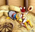 anal balls barn belt blush bound clothing cowboy cowboy_hat feathers gun handgun hat hay indian lagomorph lasso lying male male/male mammal nude penis rabbit ranged_weapon revolver riding rope straw tomihusky weapon wheel whip  Rating: Explicit Score: 1 User: Pikachu_lover Date: July 28, 2015