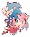 <3 amy_rose anthro aoki6311 black_nose clothing dress duo female footwear gloves green_eyes hair happy headband hedgehog male mammal open_mouth pink_hair short_hair simple_background sonic_(series) sonic_the_hedgehog  Rating: Safe Score: 3 User: Cαnε751 Date: April 22, 2016