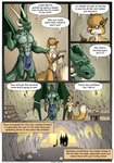 5_fingers 7:10 anthro biped blue_eyes bulge canid canine cave cheek_tuft chest_tuft clothed clothing comic dialogue digital_media_(artwork) dragon duo english_text facial_tuft farin fingers forest fox fur furniture geminisaint gesture green_body half_naked head_tuft hi_res holding_object horn inside log loincloth looking_at_another male male/male mammal membrane_(anatomy) membranous_wings multicolored_body muscular muscular_anthro muscular_male narrowed_eyes navel nipples one_eye_closed open_mouth parchment pawpads pecs plant pointing scalie sekk'ral shrub silhouette size_difference smile speech_bubble spines standing table tan_body tan_fur text tongue topless torch tree tuft two_tone_body wings wink wood