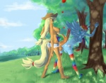 2011 anthro anthrofied applejack_(mlp) balls bent_over big_penis blonde_hair blue_body clothing cowboy_hat cum cutie_mark dickgirl duo equine fluffins freckles friendship_is_magic hair hat herm horse hyper intersex mammal mouth_hold my_little_pony nipples orange_body outside pegasus penis pony pussy rainbow_dash_(mlp) rope tree vein veiny_penis wheat wings   Rating: Explicit  Score: 3  User: Falord  Date: July 14, 2013