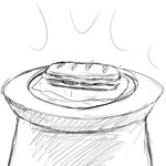 1:1 comic food hi_res hladilnik monochrome not_furry sandwich_(food) simple_background sketch white_background zero_pictured