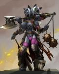2016 areola areola_piercing armor axe belt big_breasts breasts camel_toe canine chain clothing cloud club_(disambiguation) dichephalic_twins erect_nipples exhibitionism eye_patch eyewear female gauntlets gloves hi_res ineffective_armor inviting knee_pads legwear link2004 looking_at_viewer mace mammal melee_weapon multi_arm multi_head multi_limb muscular_arms navel nipple_chain nipple_piercing nipples piercing public shin_guards shoulder_guard siamese_twins sibling simple_background sky smoke stockings sunset teeth thong twins unconvincing_armor vira_and_viana weapon wolfRating: QuestionableScore: 28User: Lilac_SashDate: May 18, 2017