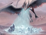 dragon feathered_wings feathers flying ice kev_walker landscape magic_the_gathering official_art ojutai open_mouth signature wings   Rating: Safe  Score: 4  User: Shardshatter  Date: March 30, 2015