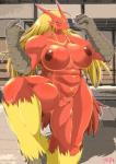 2014 abs anthro avian beak big_breasts big_nipples bird blaziken breasts chicken female hair happy hi_res long_hair looking_at_viewer manly muscles muscular_female navel nintendo nipples nude pokémon pokémorph pussy smile solo sweat video_games ymbk   Rating: Explicit  Score: 10  User: WiiFitTrainer  Date: July 06, 2014