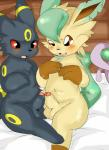 balls balls_touching blush eeveelution erection feral frottage hi_res humanoid_penis leafeon male male/male nekonade nintendo open_mouth partially_retracted_foreskin penis pokémon pokémon_(species) sex teeth umbreon uncut video_games