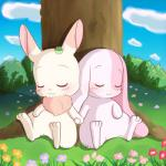 blush chest_tuft chima clover cute eyes_closed female flower fur grass hand_holding happy_happy_clover kajiura lagomorph mallow mammal meru outside pink_fur rabbit sleeping smile tree tuft white_fur   Rating: Safe  Score: 6  User: Jontron  Date: April 21, 2014