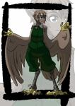 absurd_res ambiguous_gender animal_humanoid avian avian_humanoid blue_eyes brown_feathers brown_hair claws clothed clothing dark_skin digitigrade feathered_wings feathers fully_clothed green_clothing hair harpy hi_res humanoid jacket kukuruyoart_(artist) legwear looking_at_viewer neck_tuft pants pointy_ears short_hair sleeveless solo spandex standing tail_feathers talons tight_clothing tuft wide_hips wings zipper