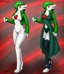 2016 abstract_background armband breasts celeste(jeffthehusky) clothed clothing dress female gardevoir green_hair hair hair_over_eye jeffthehusky leggings legwear long_hair nintendo nipples nude open_mouth pokémon pussy red_eyes signature solo spike_(disambiguation) standing stockings video_games white_skin  Rating: Explicit Score: 1 User: Razorback1952 Date: February 14, 2016