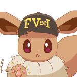 1:1 3_toes ambiguous_gender animated black_nose brown_eyes canid canine chest_tuft clothing eevee fbi fluffy fluffy_tail hat headgear headwear hi_res looking_at_viewer loop mammal nintendo pawpads pink_pawpads plattyneko pokémon pokémon_(species) simple_background solo toes tongue tuft video_games white_background