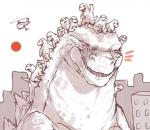 aircraft ambiguous_gender city eyes_closed godzilla godzilla_(series) group helicopter iguanamouth open_mouth outside proud riding_on_head scalie sharp_teeth sky smile sun teeth waving young  Rating: Safe Score: 19 User: Random Date: August 24, 2015